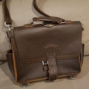 Saddleback Leather medium satchel in chestnut